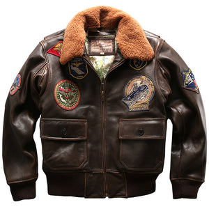 Seveyfan US Flight Genuine Leather Jacket Men Embroidery Patches Slim Motor Biker Real Cowhide Leather Jacket for Male R2982