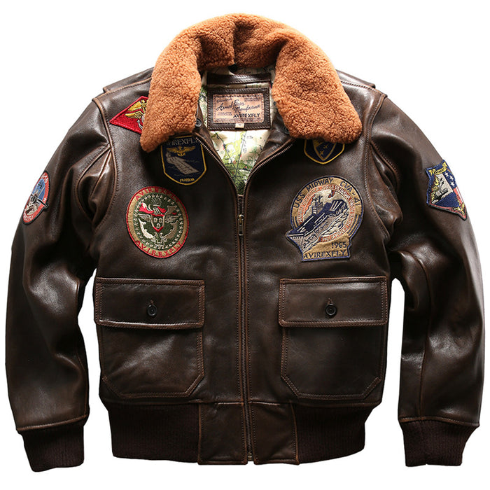 Seveyfan US Flight Genuine Leather Jacket Men Embroidery Patches Slim Motor Biker Real Cowhide