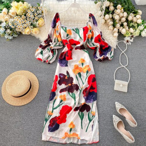 Gaganight Fashion Flower Women Long Party Dress New Chic Vintage Holiday Beach Dresses