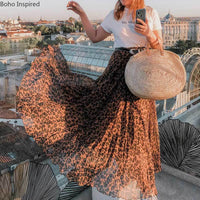 BOHO INSPIRED 2020 NEW Summer Skirt leopard Print Elastic Waist maxi skirts for women super