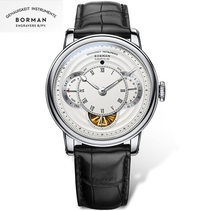 BORMAN men automatic watches luxury brand mechanical self wind wristwatch leather band dress watch relogio masculino week,date