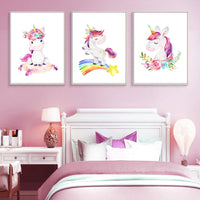 Rainbow Unicorn Nursery Wall Art Canvas Poster Nordic Baby Girl Bedroom Decorative Print Painting Picture Nordic Home Decor