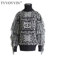 TVVOVVIN Tassel Vintage Pattern Knitted Sweater Lady Style Patchwork Pullover Elegant 2019 Autumn Korea Fashion New Sweater F612