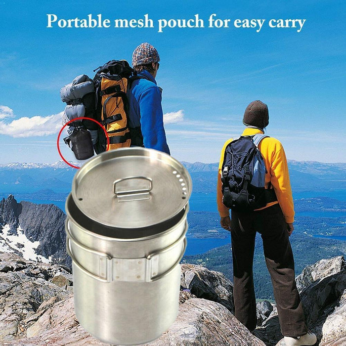 700ml Camping Cookware Ultralight Titanium Frying Pan Picnic Set Outdoor Bowl Hiking Cup Quality