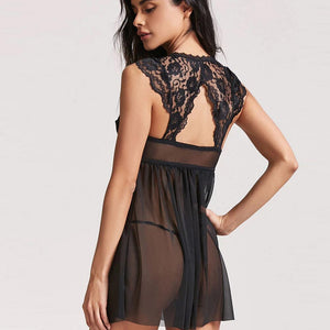 Sexy Lace Sleepwear Hot Fashion For Women Sexy Ladies Black Solid Sleepwear Back See-Through Nightdress + Thong Nightgown @50