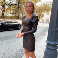 Dulzura Pu Faux Leather Mini Dress Puff Sleeve Patchwork Bodycon Elegant Party Bandage Sexy Streetwear 2020 Autumn Winter Slim