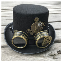 2019 New Fashion Men Women Handmade Steampunk Top Hat With Gear Glasses Stage Magic Hat Bowler Hat Size 57CM