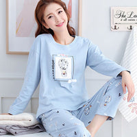 Womens Pajamas Sets Autumn Winter New Long Sleeve Cartoon Print Cute Loose Sleepwear Girl Pijamas Mujer Leisure Nightgown Women