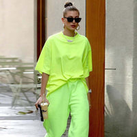 2020 Summer Casual Long T-shirt Oversized Women O-neck Cotton Tops Tees Fashion Loose Neon Green Tops Streetwear Hip-hop Shirts