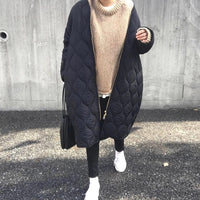 Autumn Cotton Padded Jacket Office Ladies Korean Warm Solid Green Zipper Retro Causal Long Parkas Winter Coat Outwear Overcoat