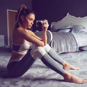 Fitness Set Women Sportswear Female Yoga Set Workout Gym Wear Running Clothes Gray Hit Color Ensemble Sexy Sport Suit Tracksuit