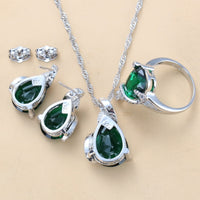 Enchanting Water Drop Green Cubic Zirconia 925 Silver Jewelry Sets Stud Earrings/Necklace/Pendant/Ring For Women Accessories
