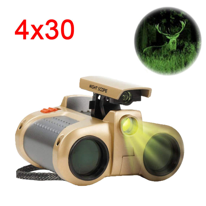 Powerful Binoculars 4x30 Night Vision Viewer Surveillance Telescope Pop-up Light Tool