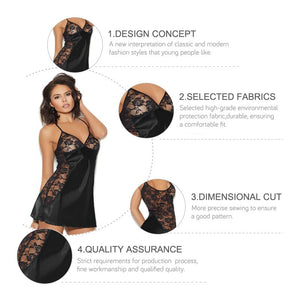 2019 Sexy V-neck Lingerie Night Dress Sleeveless Ladies Satin Nightgown Plus Size See Through Lace Sleepwear Nightwear For Women