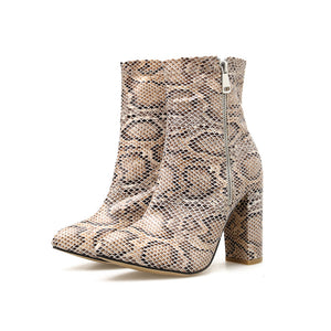 ELVIRAS  Snake Skin Boots Women High Heel Boot snakeskin Pointed Toe Zip Shoes Thick high heel Female Slouch Boots Autumn Winter