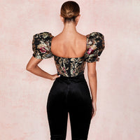Cryptographic Square Collar Jacquard Boned Bustier Crop Tops Shirt Puff Sleeve Sexy Backless Shirts Blouse Women Zipper Elegant