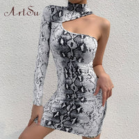 Artsu Leopard Snake Animal Print Dress Hollow Out Elegant Bodycon Sexy Party Speing Festival Clothes Dropshipping ASDR70274