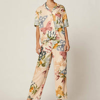 New Butterfly Printing Pajamas Turn-down Collar Womens Luxury Sexy Clothes Rayon Short-Sleeved Trousers Casual Pijama 2 Piece