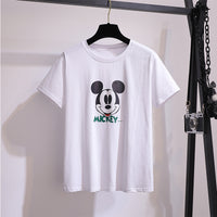 New arrival Runway Summer casual cartoon print T shirt Top + elegant vintage Mickey embroidery