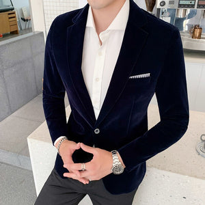 Casual Hombre Abrigo Casual Hombre Autumn Winter Velvet Blazers Mens Burgundy Suits Blazers For Mens Formal Dinner Dress Abrigo