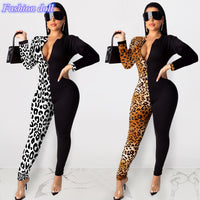 Sexy bodysuit tracksuit rompers womens jumpsuit skinny zippers patchwork leopard print slim elegant overalls combinaison femme