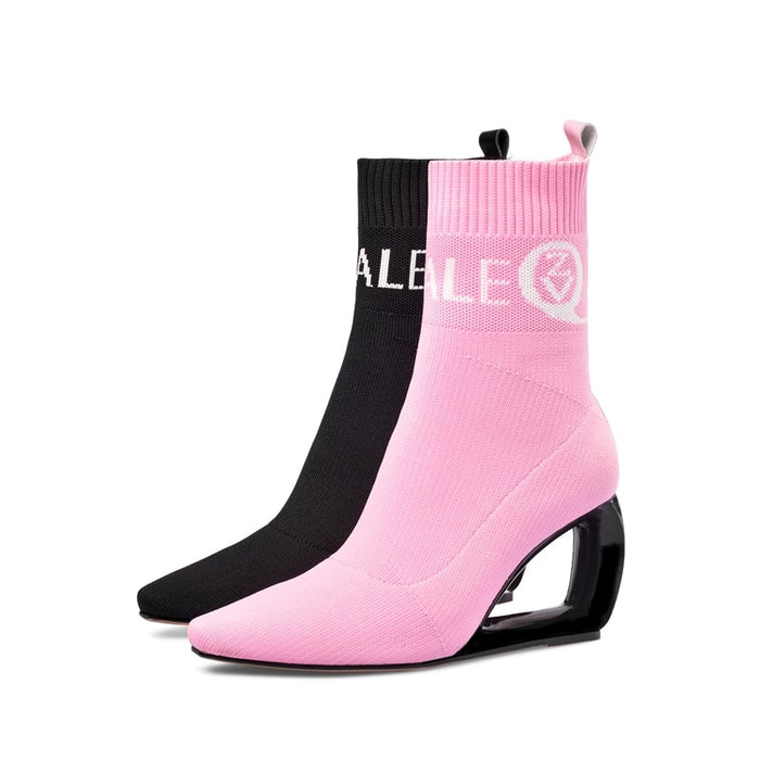 ZVQ brand woman booties knitting wool stretch boots autumn winter cute pink fashion black