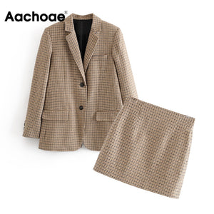 Aachoae Fashion Office Ladies Suit Set Women Two Piece Set Houndstooth Single Breasted Blazer With High Waist Chic Mini Skirt