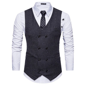 Mens Vest Slim Fit Sleeveless Wool Tweed Waistcoat Men Double Breasted Herringbone Tweed Vest Men Business Casual Gilet Men XXL