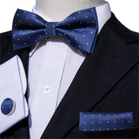 2019 Blue Bowtie for Men Slik Bow Ties Dots Male Silk Pre-tied Bow Tie Wedding Bows Business For Suit Tuxedo LH-824 Barry.Wang