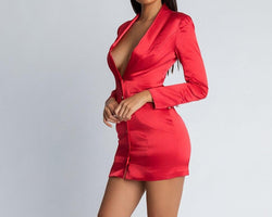 Zanzea special offer 2019 autumn hot fashion women's new fluorescent color long sleeve sexy deep V temperament slim mini dress