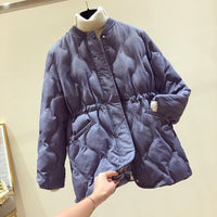 NEW Down cotton padded women's medium length 2019 new loose waist show thin cotton padded jacket fashion light cotton jacket