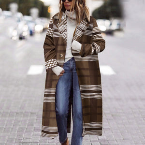 Winter Coat Women Wool Coat Long Sleeve Plaid Button Long Coat Shawl Windbreaker Long Coat Wholesale Free Ship пальто женское Z4