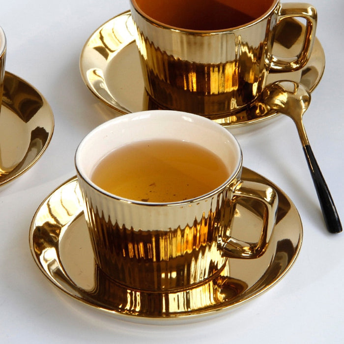 European Luxurious Electroplate Golden Ceramic Coffee Cup Saucers Hotel Club Restaurant