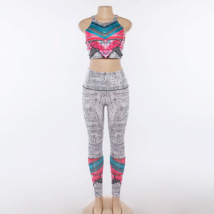 Women Yoga Sets Tracksuit Sexy Ensemble Gym Wear Running Clothing Bohemian