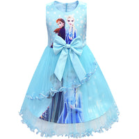 Ice Snow Queen 2 Elsa Anna Dresses For Girls Birthday Gift Costume Party Princess Tutu Lace