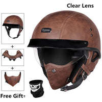 Open Face Half PU Leather Helmet Moto Motorcycle Helmets vintage Motorbike