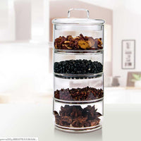 Multi Layers Glass Tea Storage Tank Stackable Snack Storage Box Sealed Grains Nuts Can Kitchen Sorting Food Storage Container