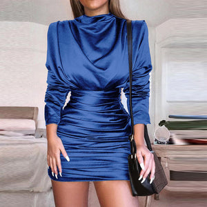 Sexy Stain Ruched Draped  Bodycon Dress Women Autumn Long Sleeve High Neck Dresses Elegant Office Lady Formal Midi Vestidos