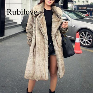 2019 Winter Women's Faux Fur Jacket Artificial Fur Overcoat Furry Coat Femme Plus Size Furry Fake Fur Outwear