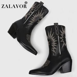 ZALAVOR Vintage Style Women Warm Boots Mid Calf Winter Short Boots For Women Shoes Retro Thick Heel Female Footwear Size 33-45