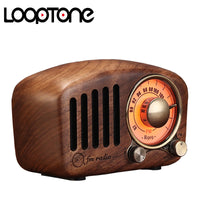 LoopTone Portable Bluetooth 5.0 Speakers with FM Radio Vintage Handmade Wood Mega Bass Stereo Mini Size TF card MP3 Player AUX