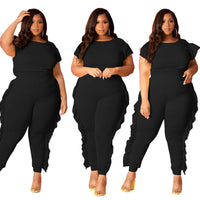 Plus Size Women Solid Ruffle Patckwork Two Piece Sets Fashion O-Neck Short Sleeve Tees High Waist Skinny Pants Tracksuits Outfit