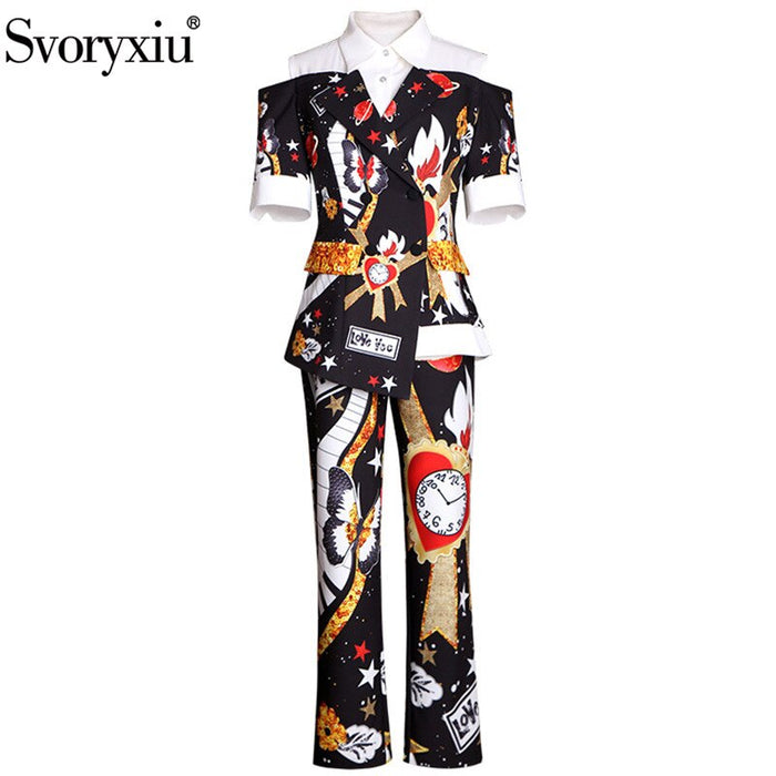 Pants Suits Women's Short Sleeve Double-Breasted Coat + Pants Vintage Printed Two Piece Set