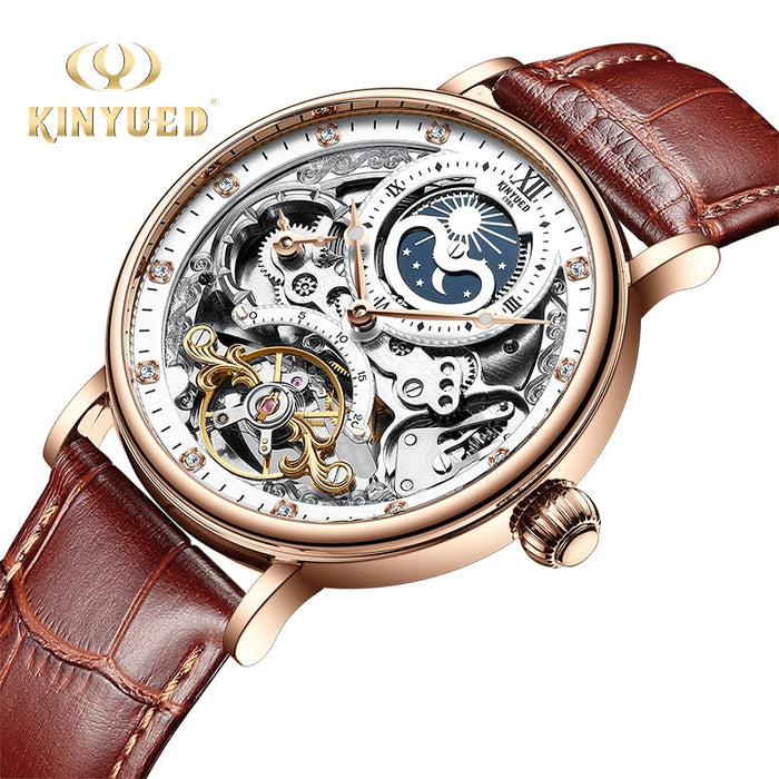 KINYUED Steampunk Chronograph Watch Men Automatic Sport 44mm Mechanical Wristwatch
