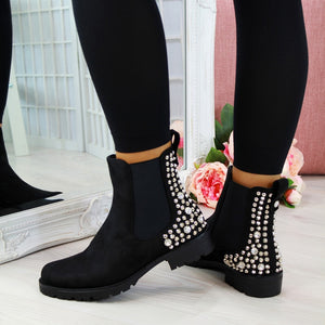 Winter Martin Boots Women Black Leather Motorcycle Cowboy Platform Boots Flock Ankle Boots Slip-on Punk Combat Boots Women Shoes