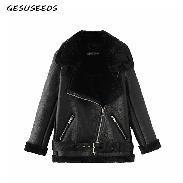 Winter black PU faux leather jacket womens leather jacket with fur collar thick warm moto biker