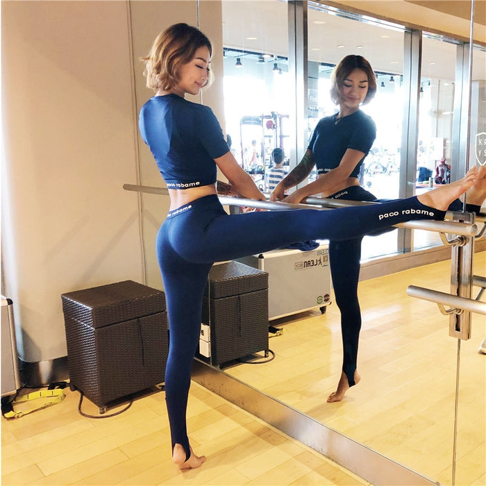 Autumn Women Yoga Fitness 2 Piece Suit Short Sleeve+leggings O-neck Letters Profession Running Sport Mujer Workout Clothing Wear