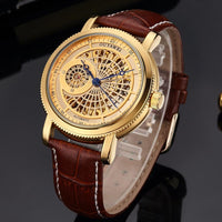 Gold Automatic Mechanical Watch Men Skeleton Watches Bracelet Wristwatch Luxury Brand Mechanical Clock Male Self-winding