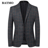 Batmo 2019 new arrival high quality wool plaid casual blazer men,men's suits jackets ,casual jackets men  9837