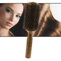Professional High Quality 63 mm Boar Bristle Hair Wood Round Brush Long Hair Styling Comb Curly And Straight Hairdressing Comb